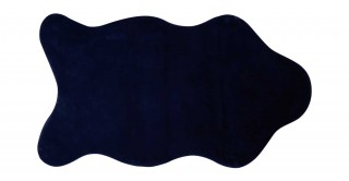 Solid Lux Faux Fur Shape Rug Blue 90X150