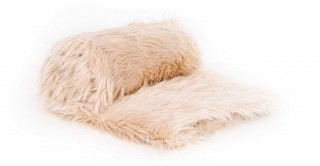 Mongolian Faux Fur Throw Beige 150X170Cm