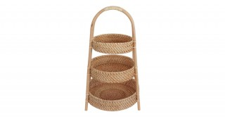 Rattan 3 Tier Fruit Basket Antique Brown