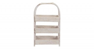 Rattan 3 Tier Fruit Basket Whitewash