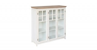 Cottage Wood Cabinet With 2 Shelves, Cream