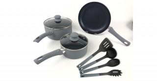 Duo Grey 9 Pcs Cookware Set