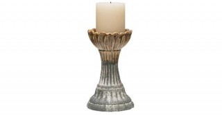 Round Stoneware Candle Holder Grey (Each One Will Vary)