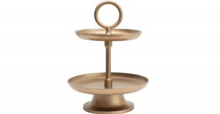 Metal 2-Tier Tray Gold Finish