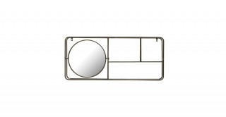 Metal Framed Mirror with 2-Tier Wall Shelf