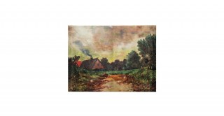 Canvas Wall Decor with Vintage Reproduction Cabin Print