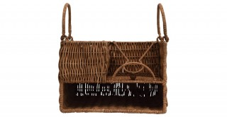 Hand-Woven Rattan Caddy w/ Handles & 7 Compartments