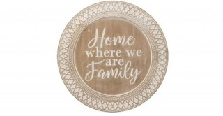 Round Decorative Wood Tray, Whitewash Finish (Hangs or Sits)