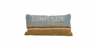 """Sun Please"" Rectangle Cotton Striped Pillow"