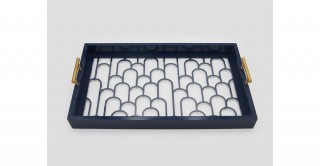 Flow Rect. Cut Outs Tray Dark Blue 52 cm