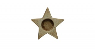 Stoneware Star Tealight Candleholder with Reactive Glaze Finish (Each one will vary)
