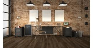 Baita Vinyl Floor Tiles Grey Dark Brown Wood 24.2 x 146.1
