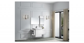 White Brownie Cabinet With Basin,Mirror&Side Cabinet