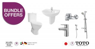 Package of TOTO W.C & WASH BASIN with Basin Mixer,Bath Mixer,Shower Set & Shattaf from KLUDI RAK