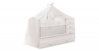 Cilek Baby Cotton Cot Bed with Pullout Bed + Drawers