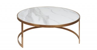Caicos Coffee Table 90X38 White/Rose Gold