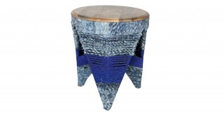 Albert End Table, Natural/Blue