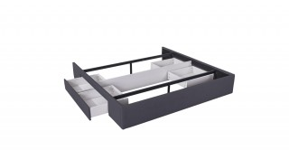 Bed Base With 2 Drawers 200X200 Dark Grey