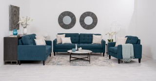 Clark Blue Sofa Set