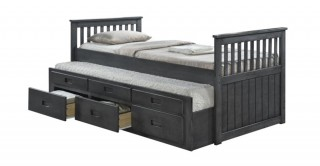 Cassy Captain Silver Bedroom Set With 2 Mattresses