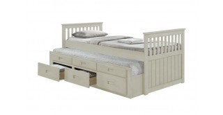 Cassy Captain White Bedroom Set With 2 Mattresses