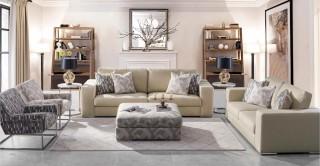 Melbourne  Sofa Set Beige with Pouf