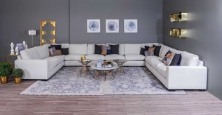 Miami Corner Sofa - Off White + Free UHD SMART TV