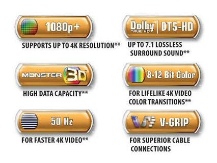 Monster Gold Advanced High Speed HDMI 3M UHD Cable | Xcite Alghanim