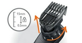 14 easy lock-in length settings from 0 to 15 mm