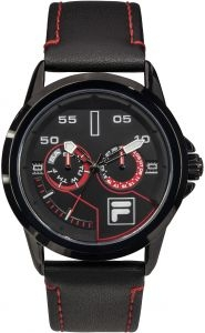 Fila 45mm Gent's Leather Analogue Watch (38169101) - Black