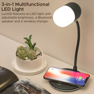 Promate LumiQi Sight Sensitive LED Table Lamp with Wireless Speaker and Wireless Charger