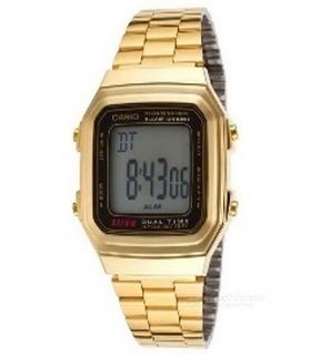 ساعة رقمية GMO للرجال 34 ملم مع حزام المعدن من كاسيو (A178WGA-1ADF) – ذهبي