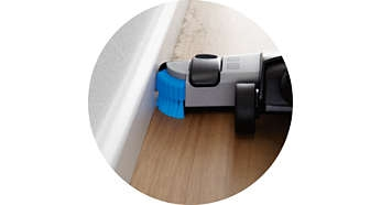 Side brushes to clean along walls