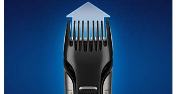 Stainless steel blades & adjustable comb, trims hair 3-11 mm