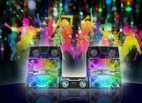 Colorful LED lights make the music even more fun