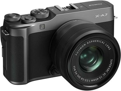 كاميرا فوجي فيلم X-A7 الرقمية بدون مرآة مع عدسة مقاس 15-45 ملم - فضي داكن