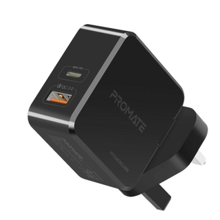 Promate Power Cube 36W Fast Charging Dual Port Wall Charger with Type-C USB