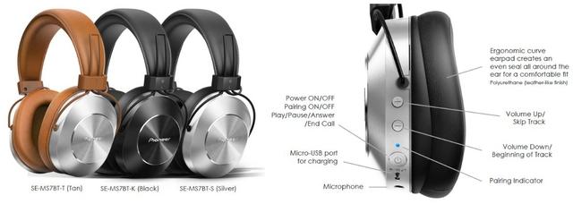 Pioneer Wireless/Wired Stereo Headphones (SE-MS7BT-K) - Silver