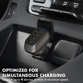 9.6 Amp/48W 4-Port USB Car Charger for Smartphones and Tablet