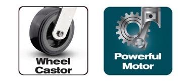موتور قوي وعجلات لسهولة الحركة