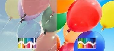 يعيد إنتاج مجموعة ألوان أوسع وأكثر دقة