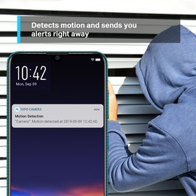 Detects motion and sends you alerts right away