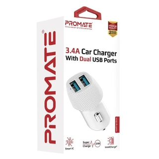 Promate VolTrip-Duo 3.4A Car Charger With Dual USB Ports