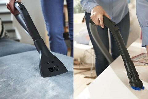 Soft brush integrated into handle & Furniture nozzle