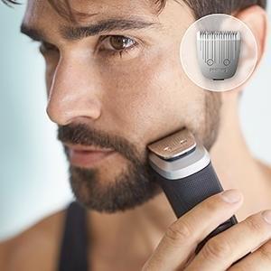 تساعد أداة التشذيب المعدنية في تشذيب اللحية وشعر الرأس والجسم بدقة