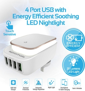 Promate Portable LED Night Light 4 USB Ports Wall Charger