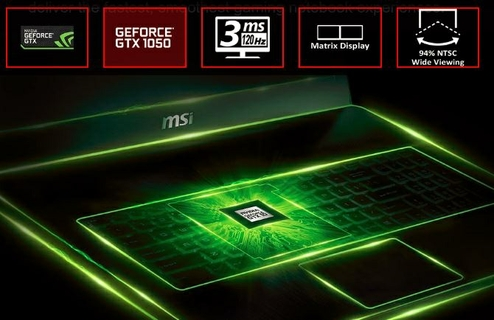 NVIDIA'S LATEST GEFORCE® GTX 1050 GPU IS READY TO AMAZE YOU ON MSI GAMING NOTEBOOKS