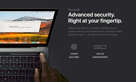 Touch ID. Advanced security. Right at your fingertip.