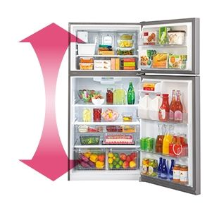 Accommodates large and small grocery items