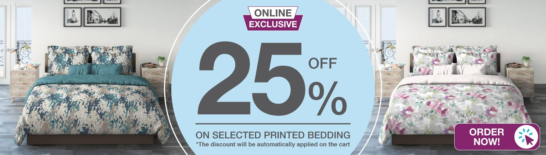 online exclusive printed bedding